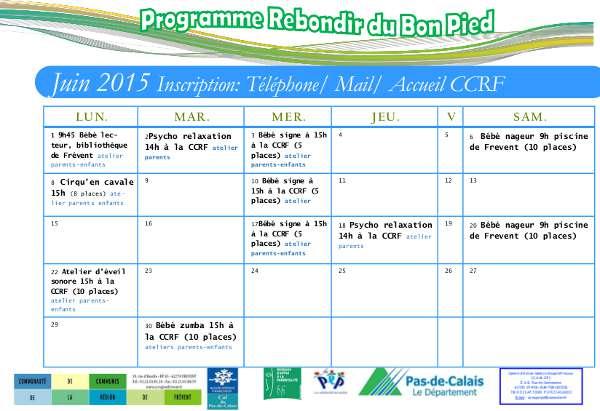 Programme Rebondir du Bon Pieds - Juin 2015