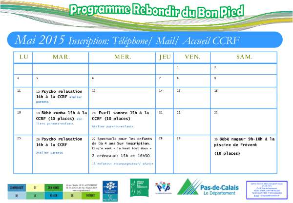 Programme Rebondir du Bon Pieds - Mai 2015