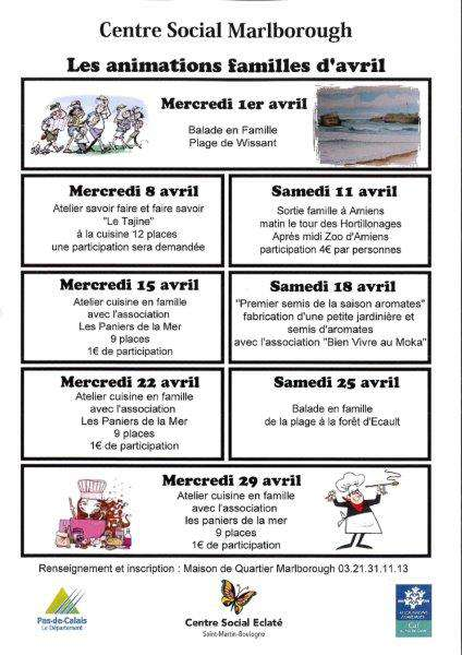 les animations familles avril 2015