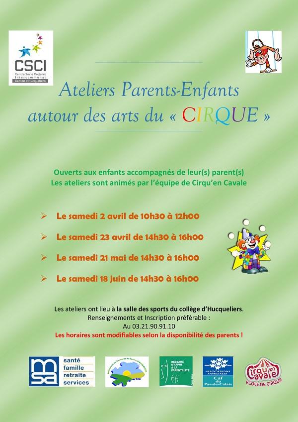 Ateliers cirque parents enfants CSCI