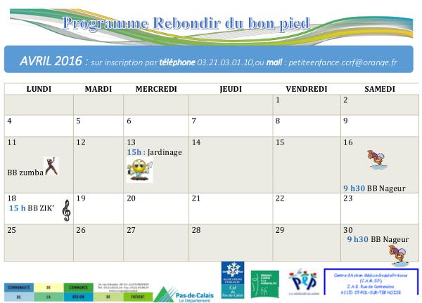 Programme RDBP avril 2016