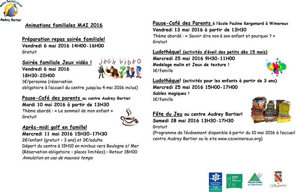 PLANNING MAI FAMILLES 2016