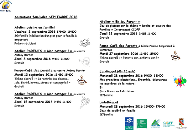 planning animations familles SEPTEMBRE 2016