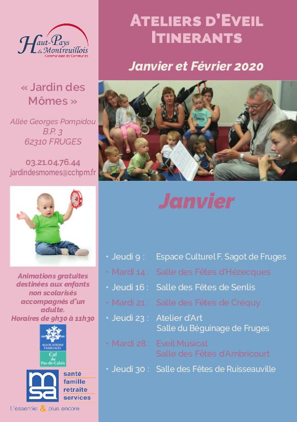 Calendrier Ateliers d'éveil itinérants A5 janv-fév
