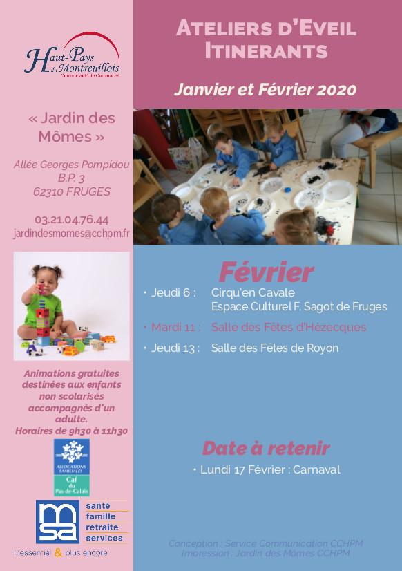 Calendrier Ateliers d'éveil itinérants A5 janv-févbis